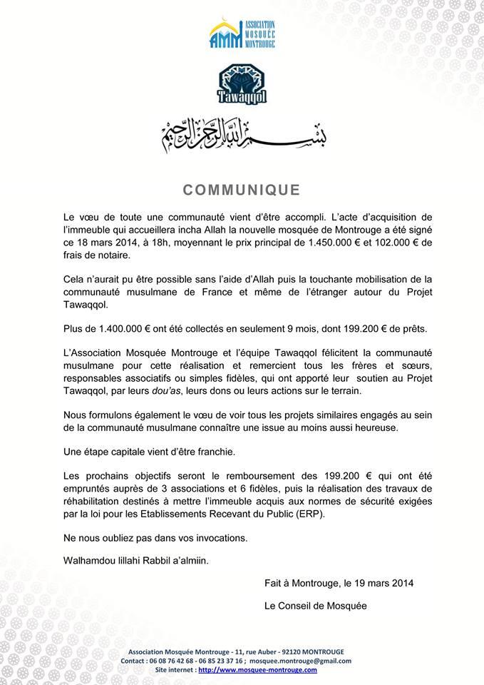 Communiqué acquisition de la mosquée de Montrouge