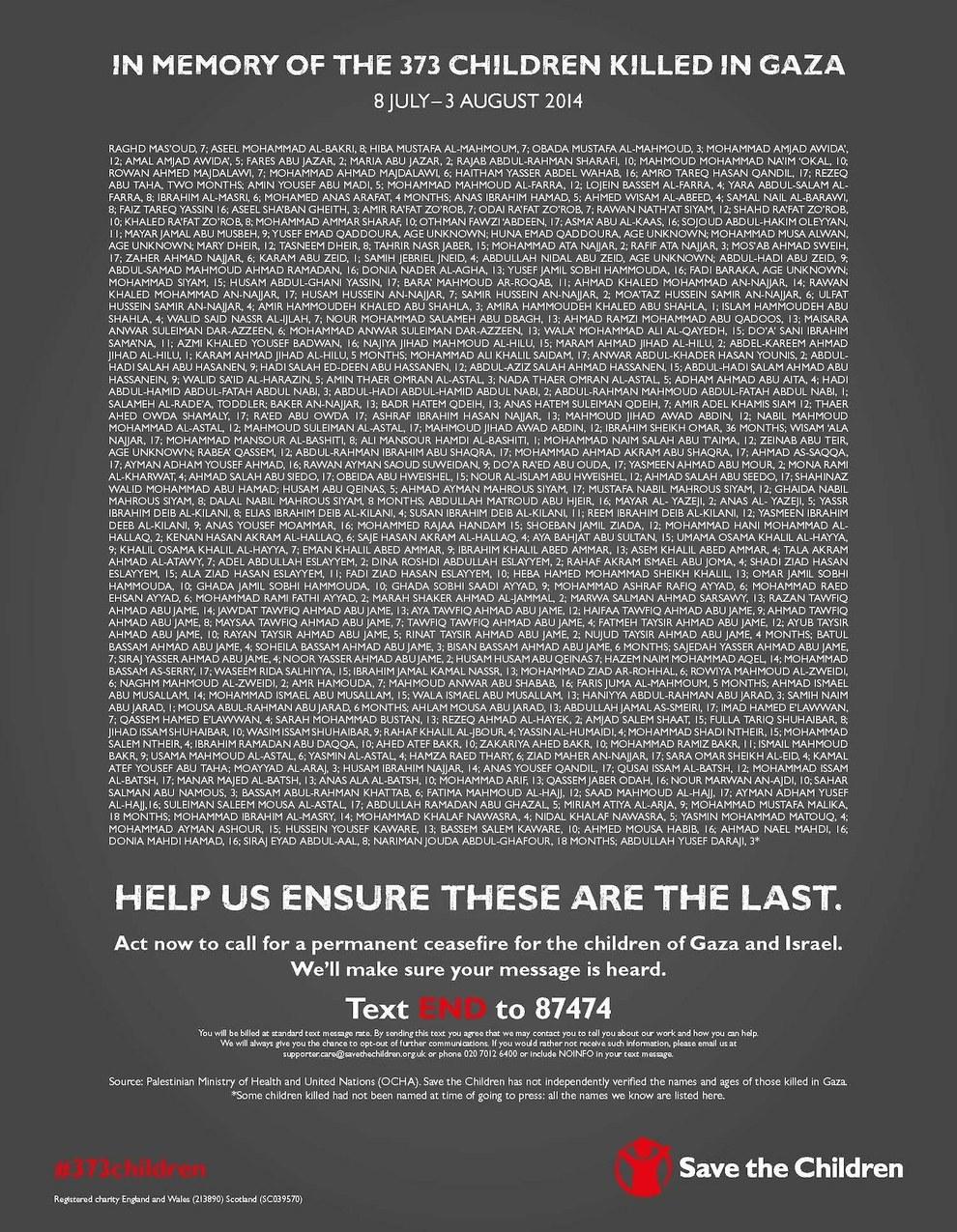 373 enfants gazaouis victimes de la barbarie sioniste