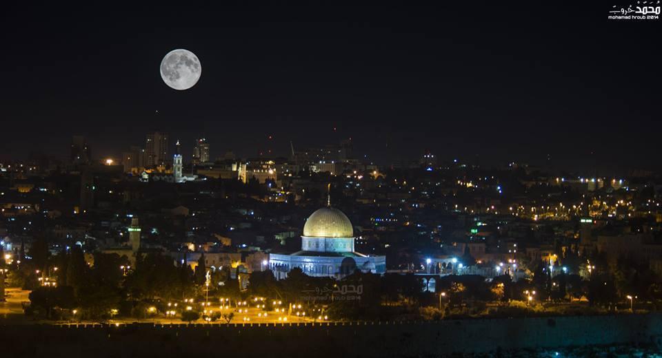 L'image du jour  la super lune au dessus d'Al Quds