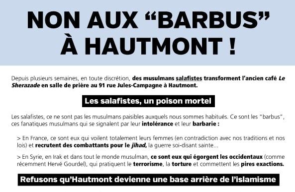 Tract anti-mosquée à Hautmont - Copie