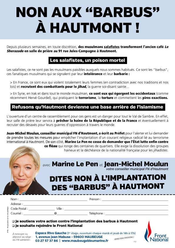 Tract anti-mosquée à Hautmont