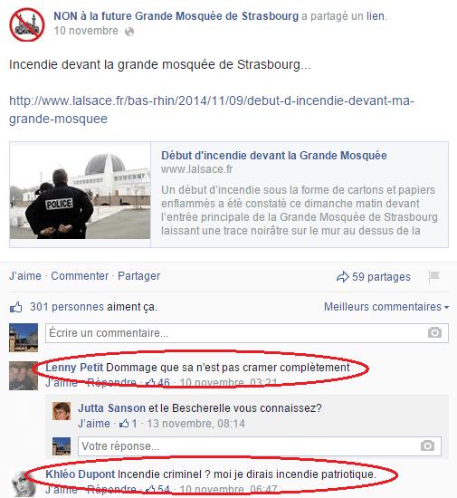 Page Facebook anti mosquée Strasbourg 11