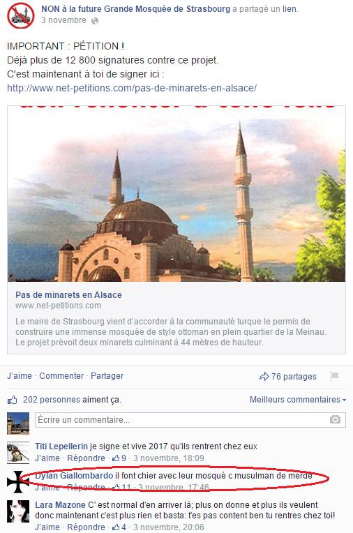 Page Facebook anti mosquée Strasbourg 19