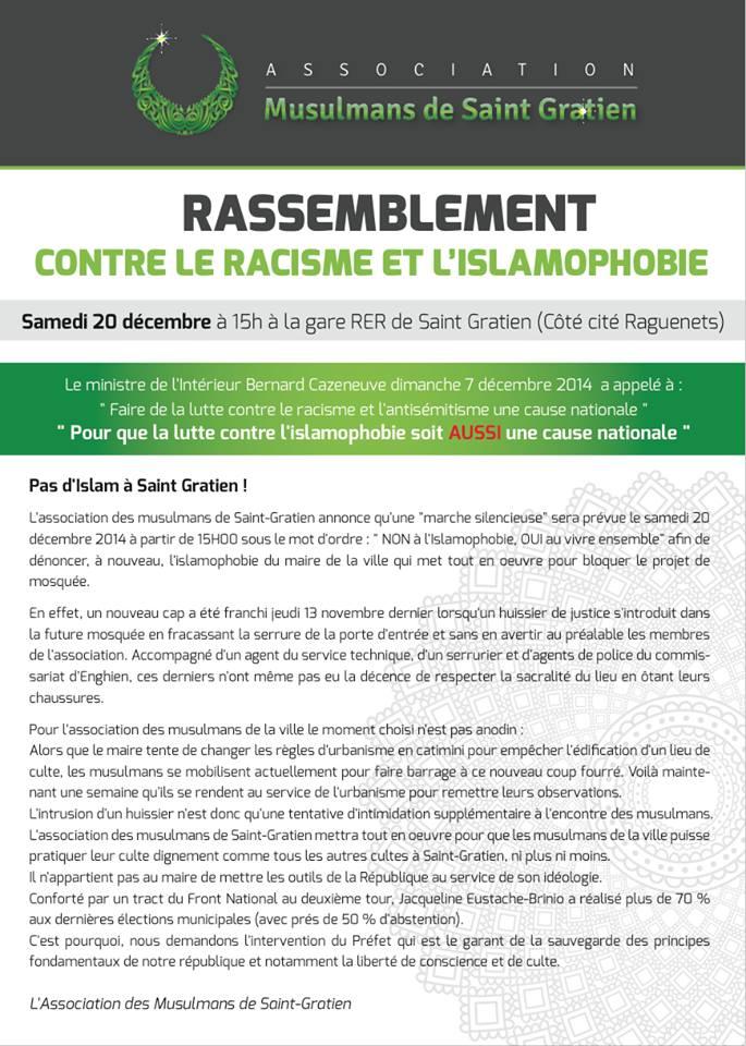 Rassemblement contre le racisme et l'islamophobie à Saint-Gratien samedi 20 décembre