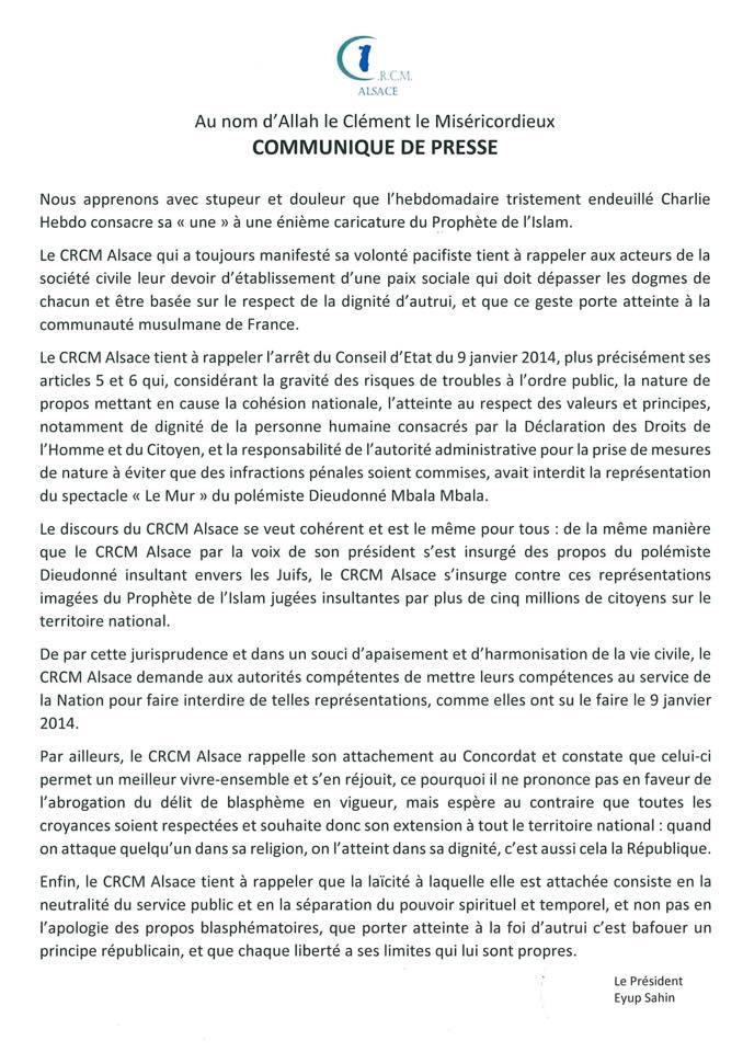Communiqué du CRCM Alsace à propos des nouvelles caricatures du prophète