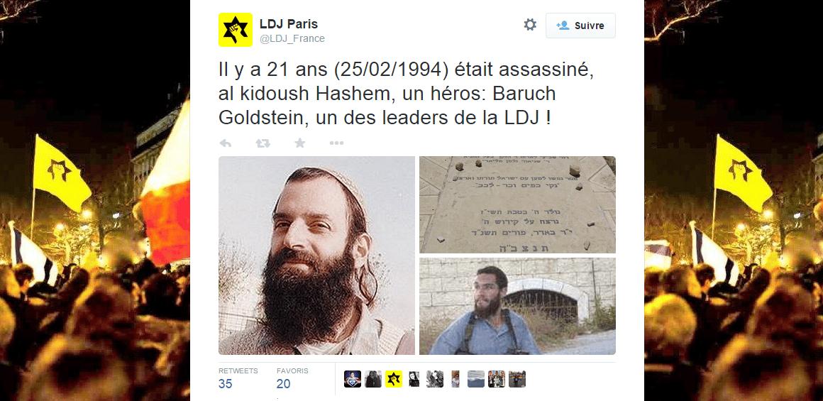 La Ligue de Défense Juive fait l'apologie du terroriste Baruch Goldstein