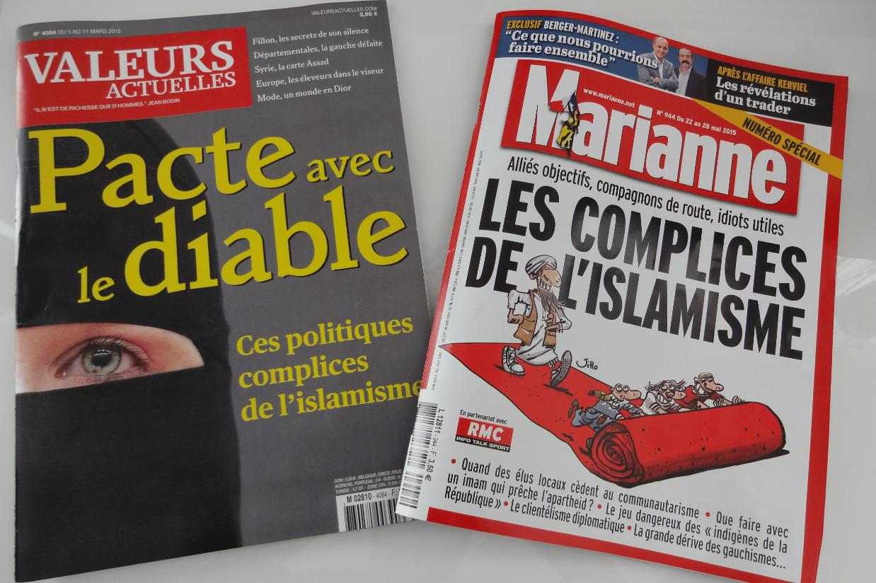 Valeurs Actuelles et Marianne même combat, islamophobie