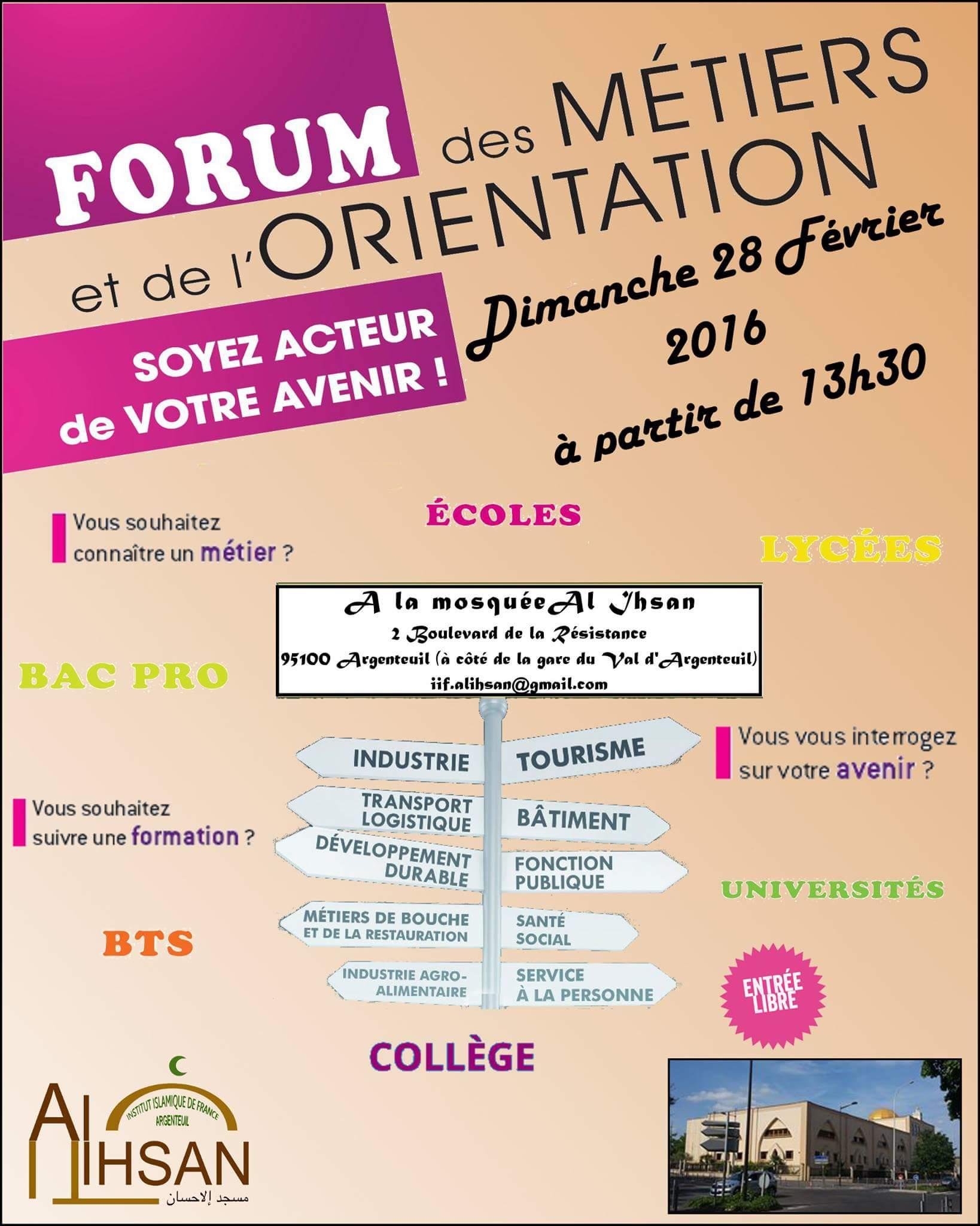 Forum des métiers à la mosquée Al Ihsane d'Argenteuil