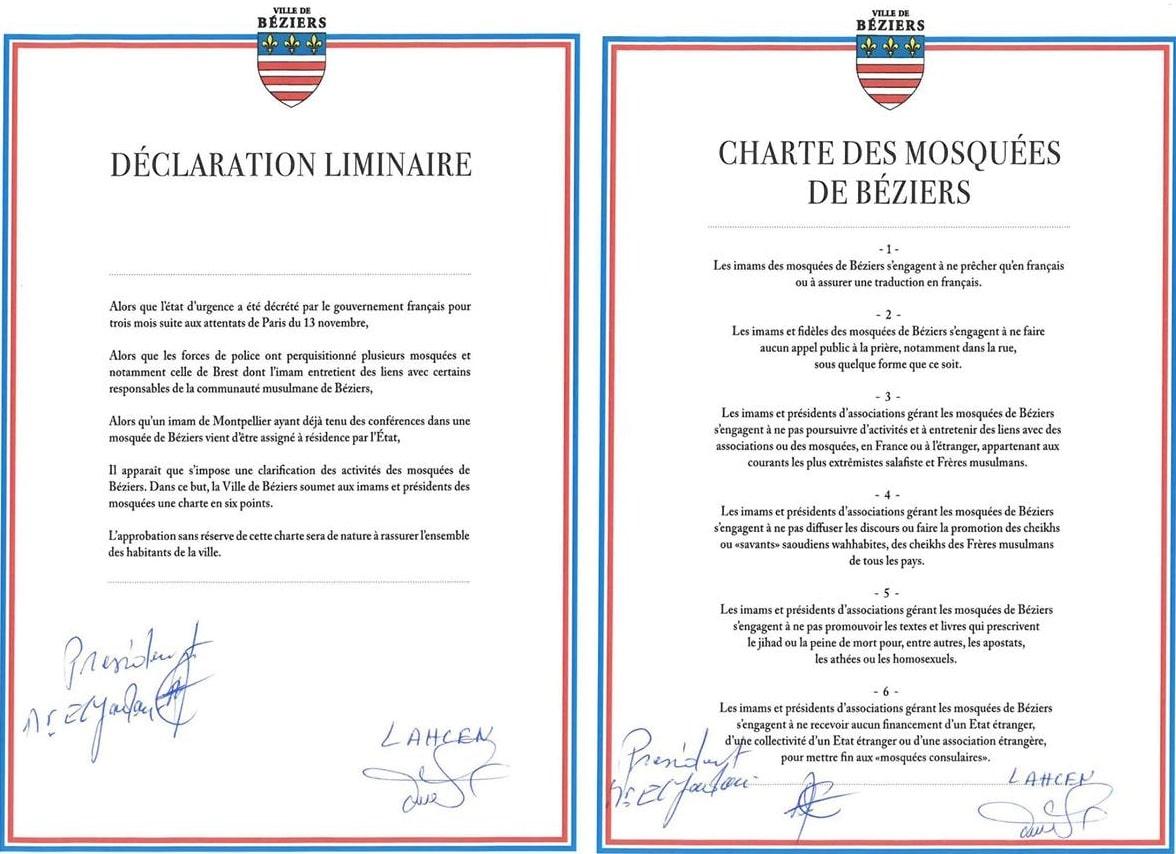 Charte des mosquées de Béziers 1 bis