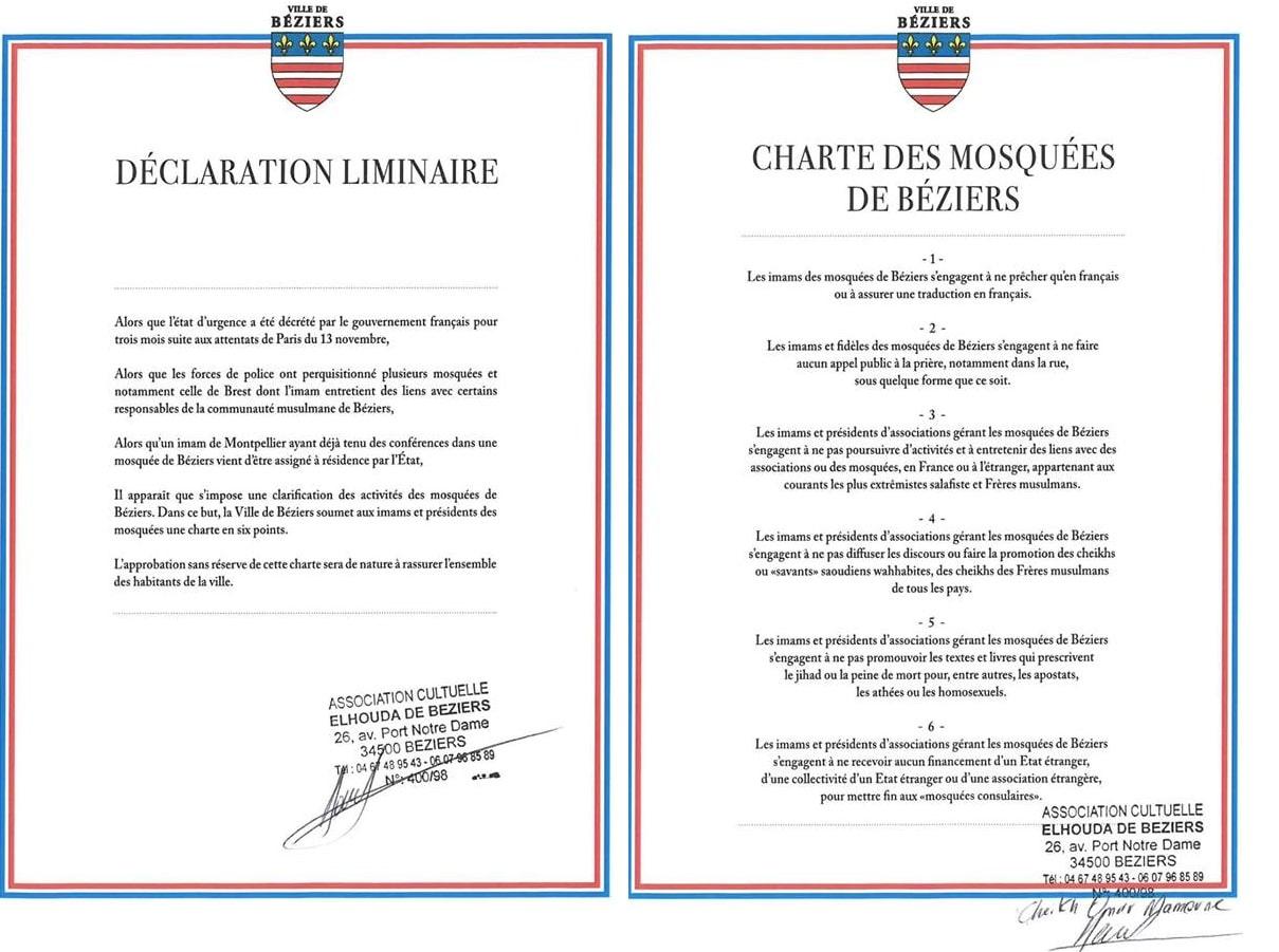 Charte des mosquées de Béziers 2bis