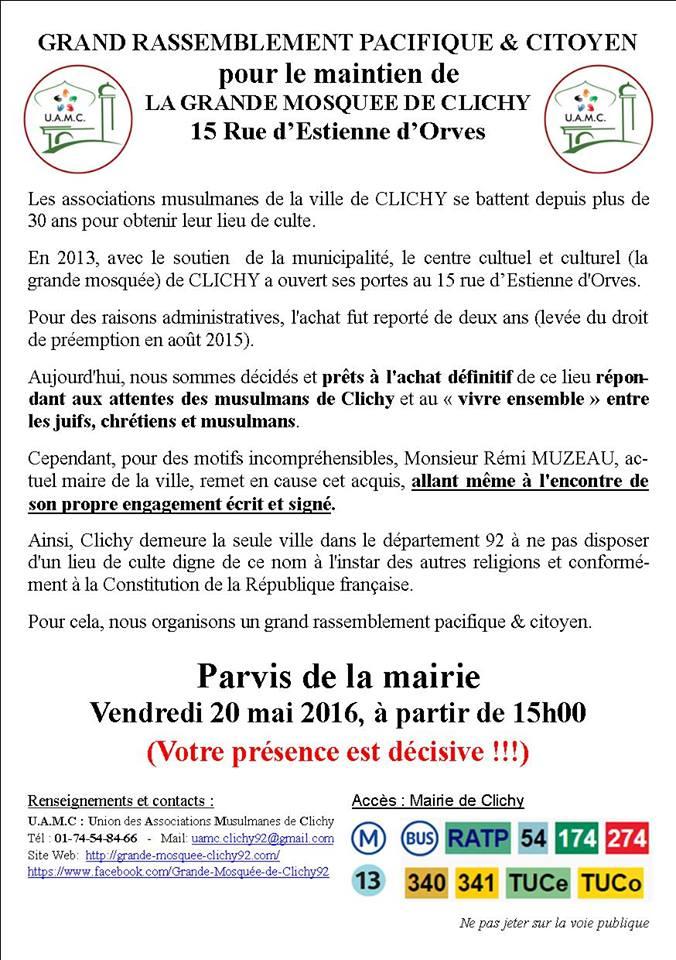 Rassemblement pour le maintien de la grande mosquée de Clichy