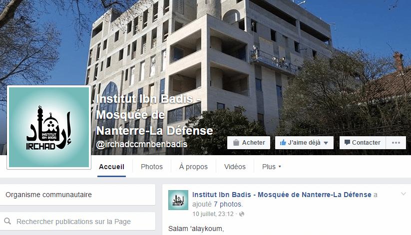 Facebook de la mosquée de Nanterre La Défense