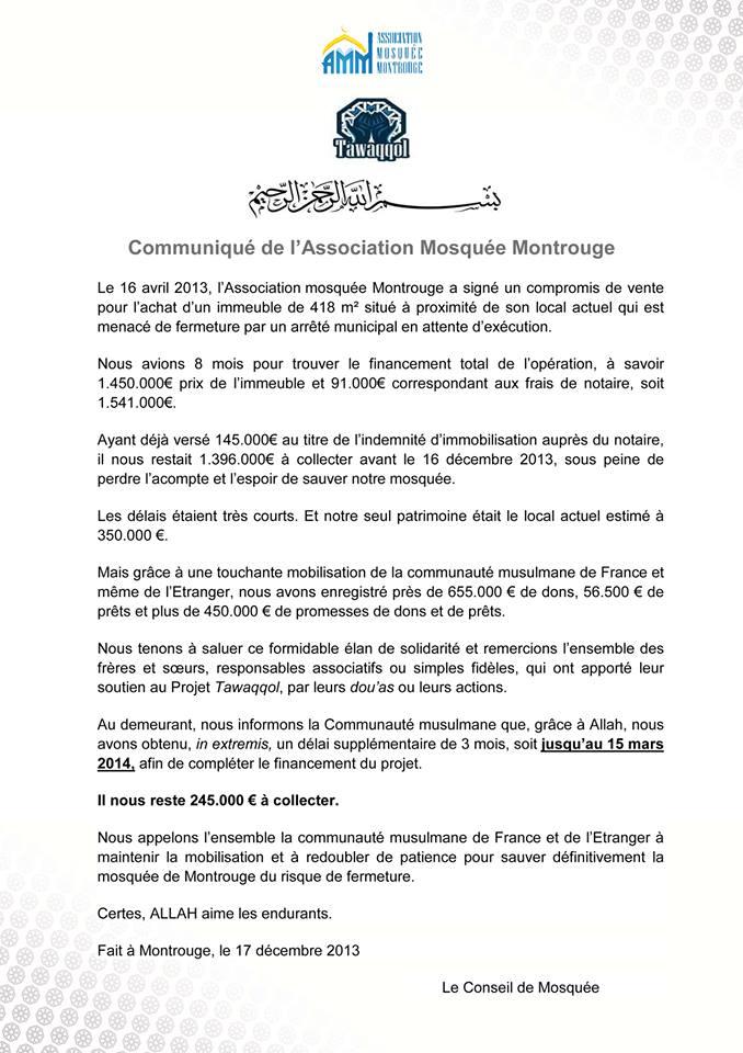 Communiqué mosquée de Montrouge