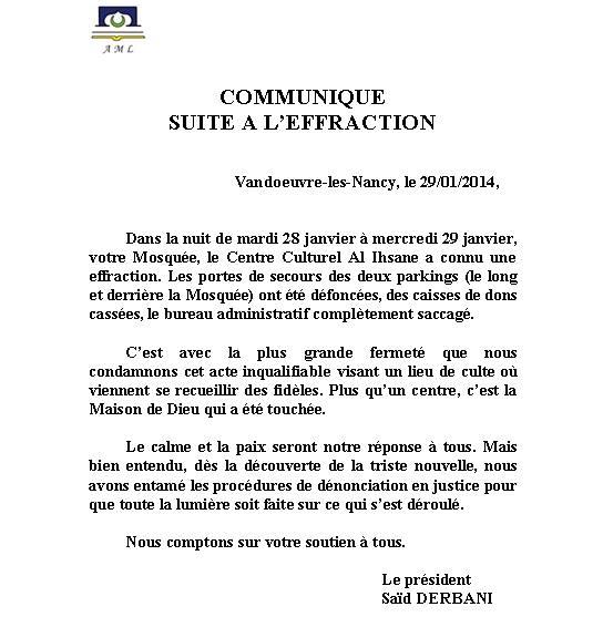 Communiqué de l'AML cambriolage mosquée de Vandoeuvre-lès-Nancy
