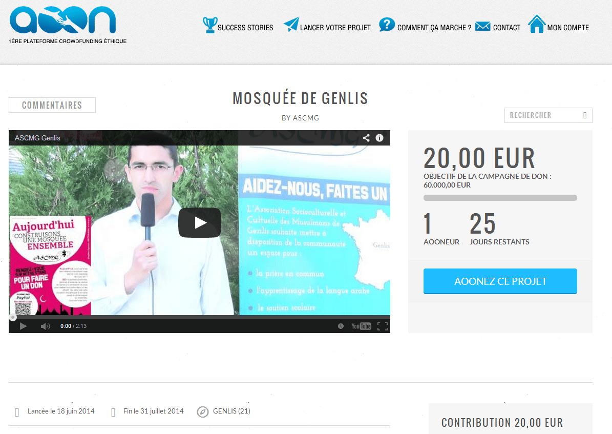 Crowfunding mosquée de Genlis