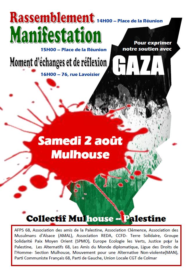 Grande manifestation de soutien au peuple palestinien à Mulhouse samedi 2 août
