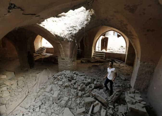 Les ruines de la mosquée Al-Omari de Gaza 1