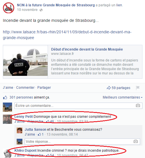 Page Facebook anti mosquée Strasbourg 11