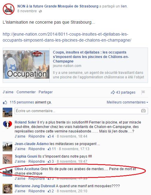 Page Facebook anti mosquée Strasbourg 17