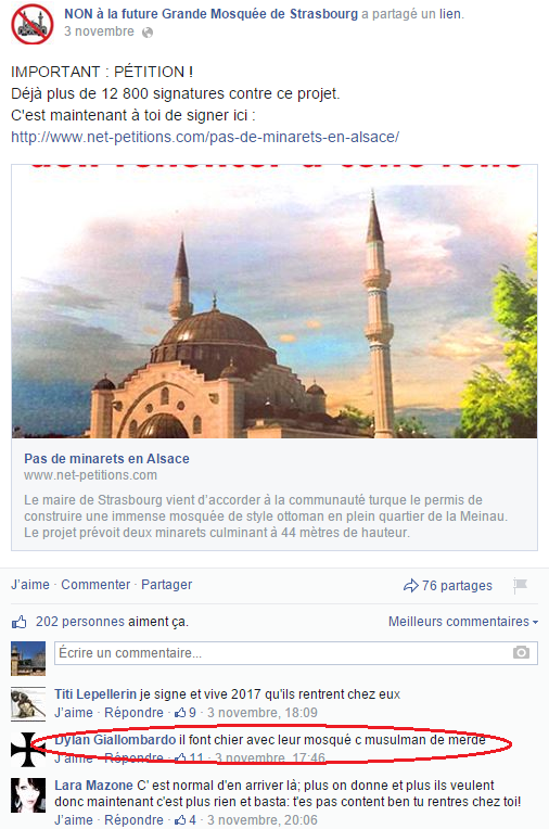 Page Facebook anti mosquée Strasbourg 19