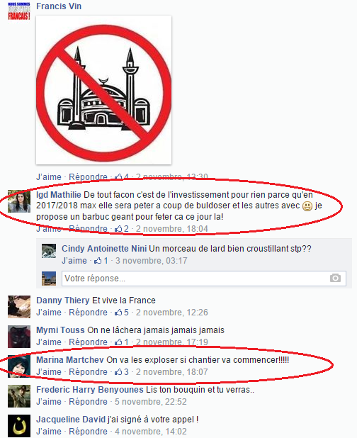 Page Facebook anti mosquée Strasbourg 22
