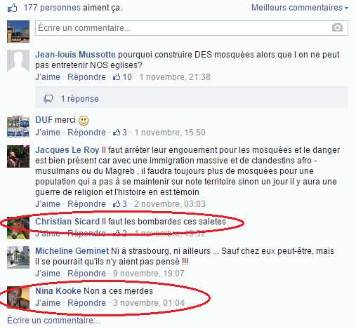 Page Facebook anti mosquée Strasbourg 24