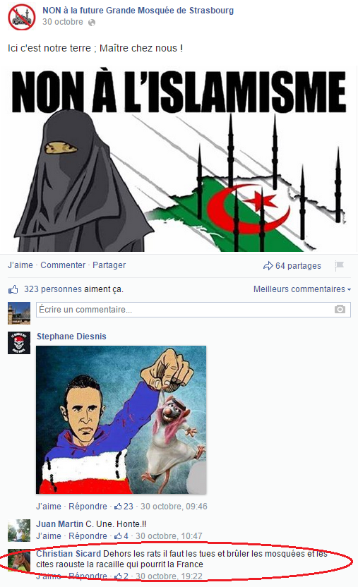 Page Facebook anti mosquée Strasbourg 27