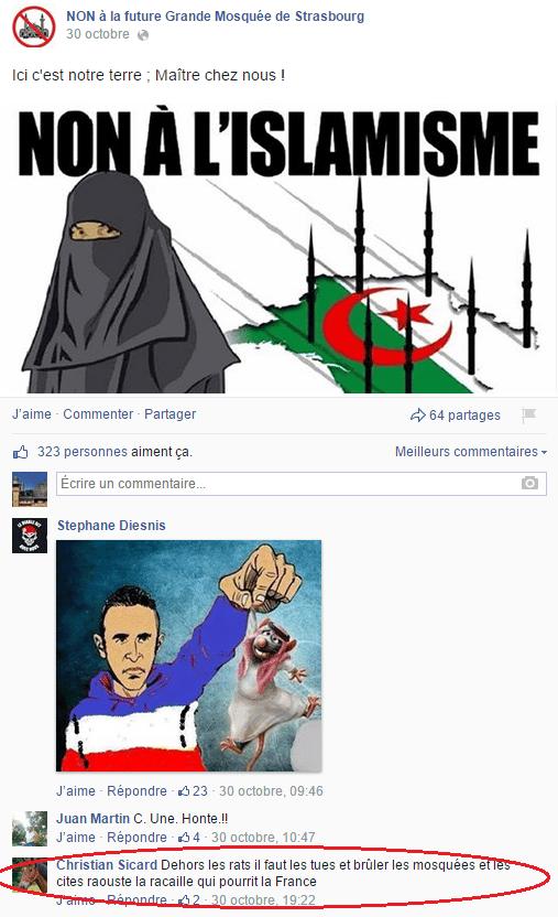 Page Facebook anti mosquée Strasbourg 27
