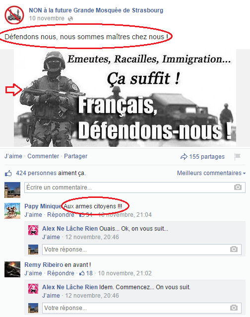 Page Facebook anti mosquée Strasbourg 7
