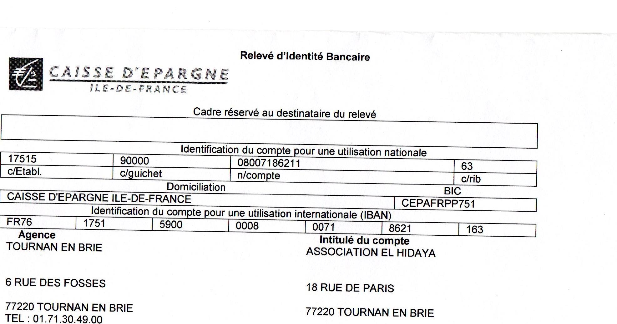 Coordonnées bancaires de l'association El Hidaya de Tournan-en-Brie