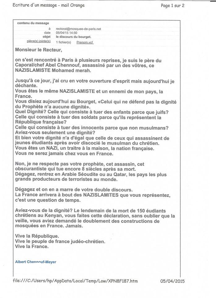 Lettre d'Albert Chennouf à Dalil Boubakeur