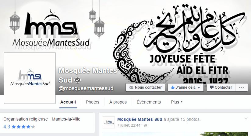 Facebook de la mosquée de Mantes-la-Ville