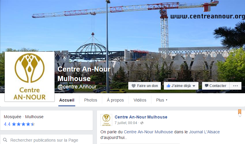 Facebook du Centre Annour de Mulhouse