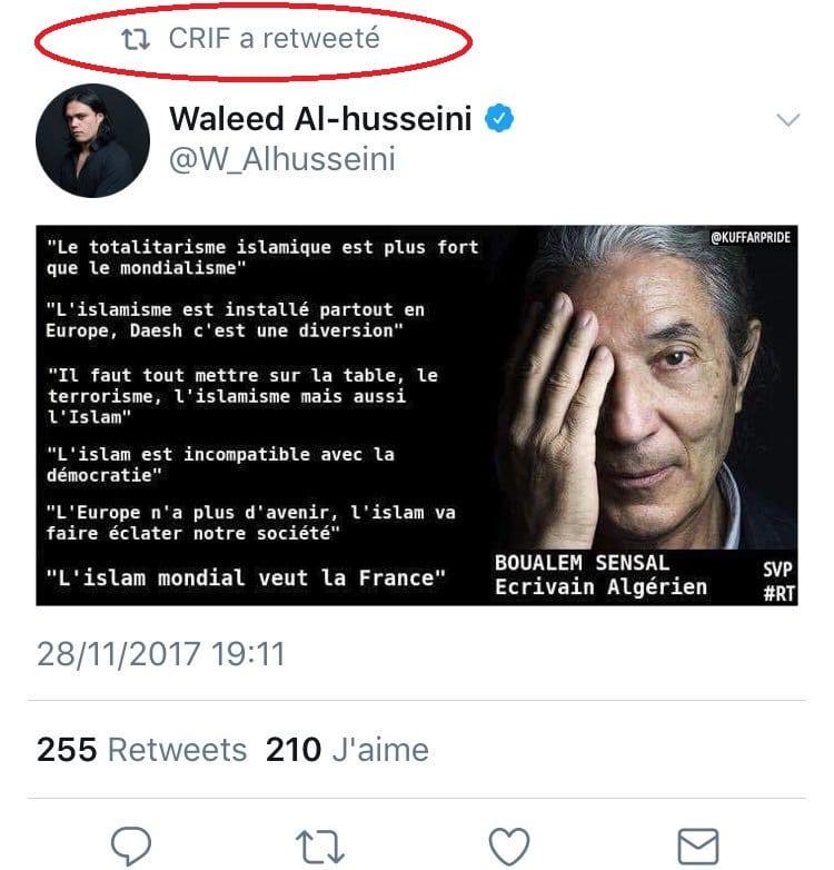 Tweet islamophobe Crif