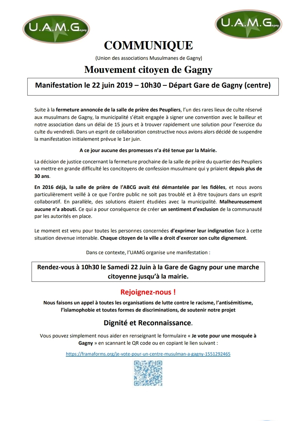 Communiqué musulmans de Gagny