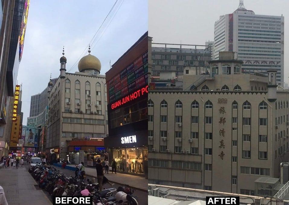 Destruction des minarets dômes mosquée Zhengzhou