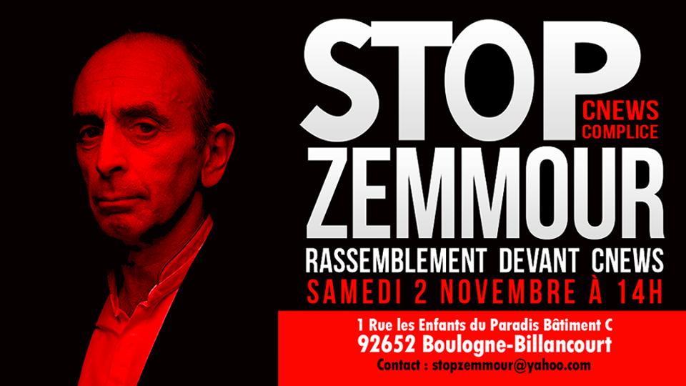 Rassemblement contre Eric Zemmour devant CNews