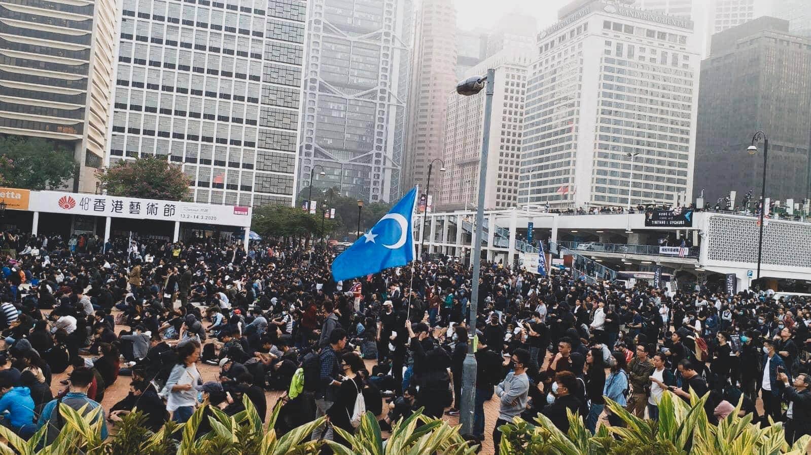 Rassemblement soutien Ouighours Hong Kong
