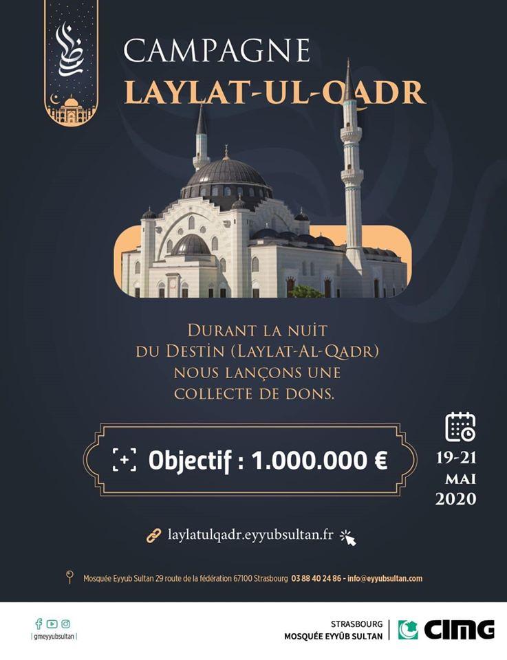 campagne laylat-ul-qadr mosquée Eyyûb Sultan Strasbourg